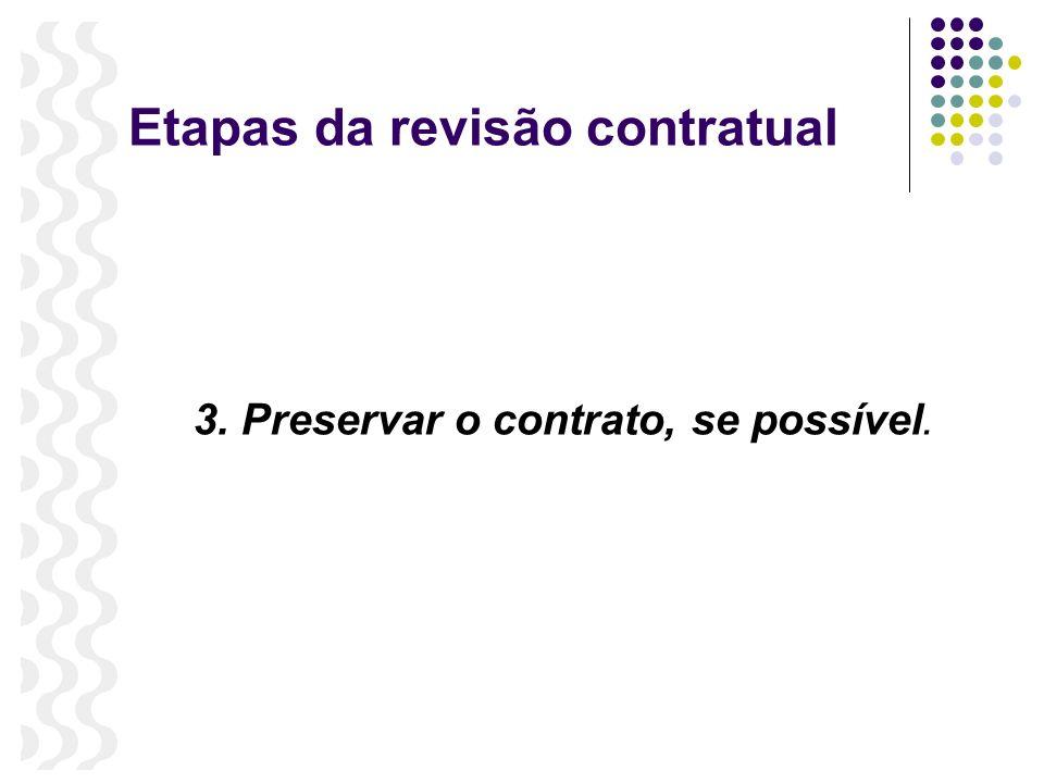 Etapas da revisão contratual 3. Preservar o contrato, se possível.