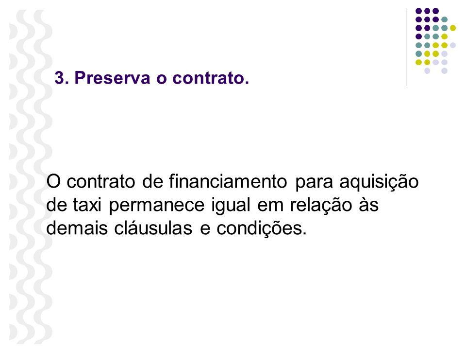 3. Preserva o contrato. O contrato de financiamento para aquisição de taxi permanece igual em relação às demais cláusulas e condições.