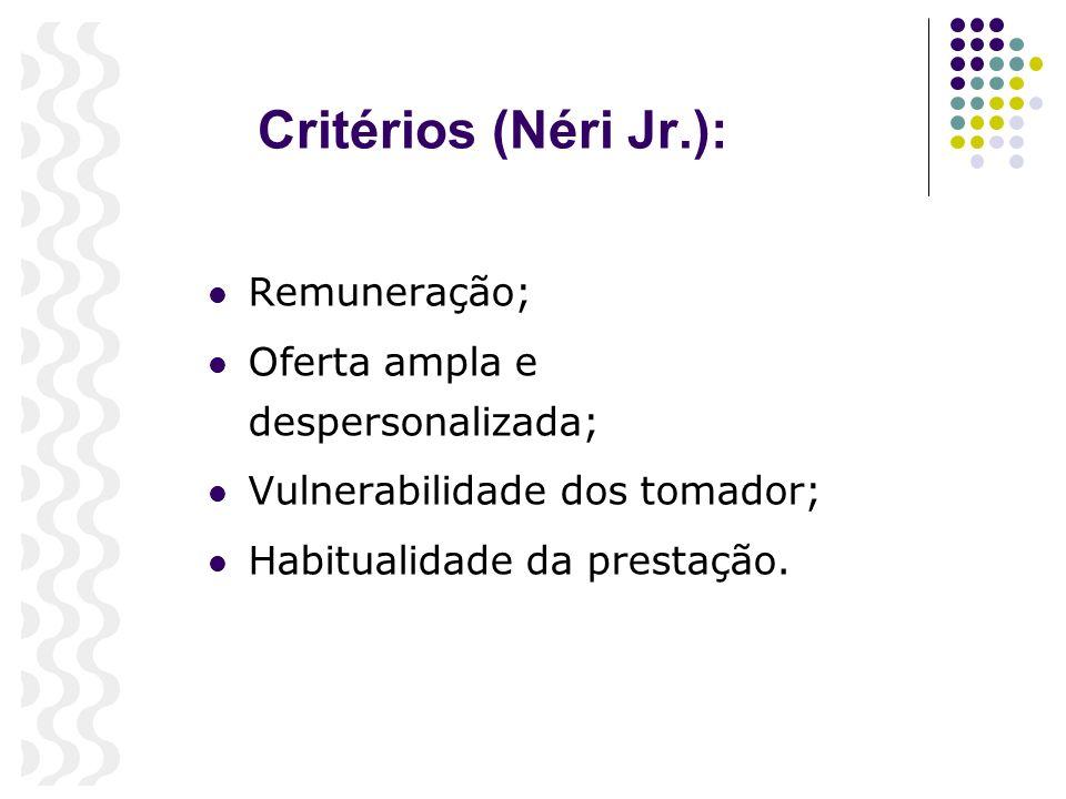 Critérios (Néri Jr.): Remuneração; Oferta ampla e despersonalizada; Vulnerabilidade dos tomador; Habitualidade da prestação.