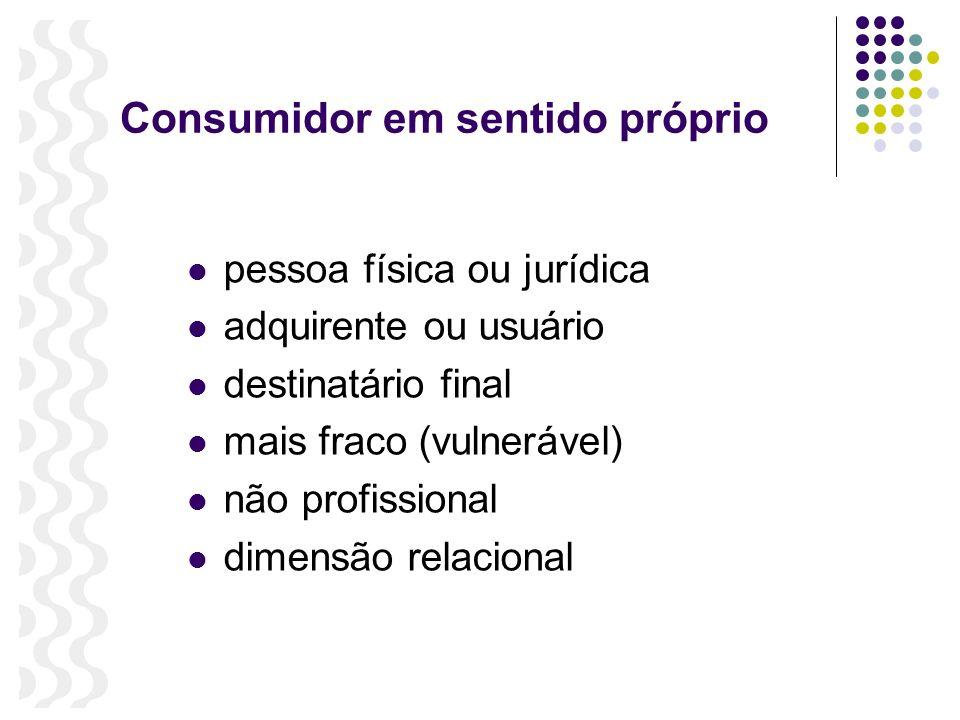 Consumidor em sentido próprio pessoa física ou jurídica adquirente ou usuário destinatário final mais fraco (vulnerável) não profissional dimensão rel