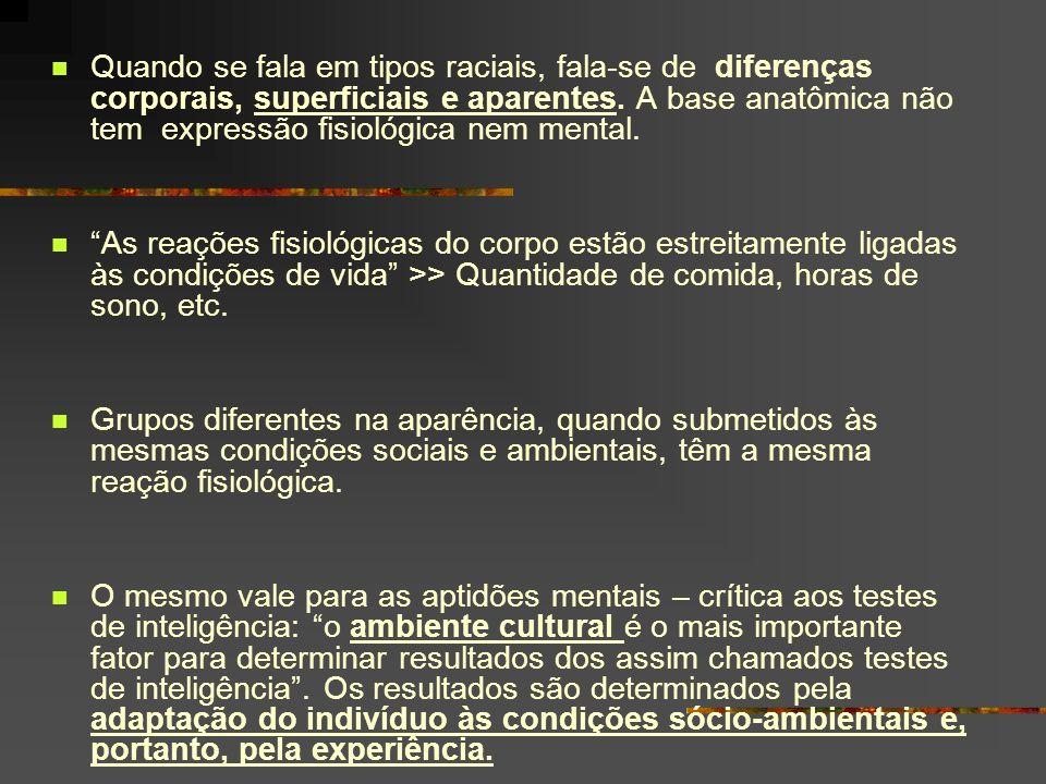 Quando se fala em tipos raciais, fala-se de diferenças corporais, superficiais e aparentes. A base anatômica não tem expressão fisiológica nem mental.