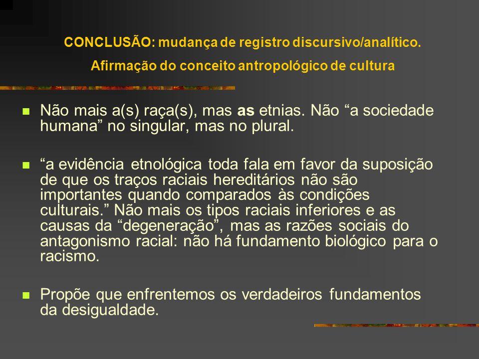 CONCLUSÃO: mudança de registro discursivo/analítico. Afirmação do conceito antropológico de cultura Não mais a(s) raça(s), mas as etnias. Não a socied