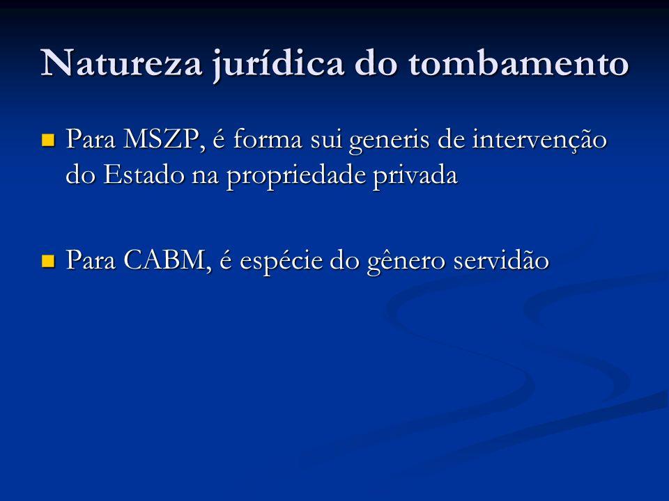 Natureza jurídica do tombamento Para MSZP, é forma sui generis de intervenção do Estado na propriedade privada Para MSZP, é forma sui generis de intervenção do Estado na propriedade privada Para CABM, é espécie do gênero servidão Para CABM, é espécie do gênero servidão