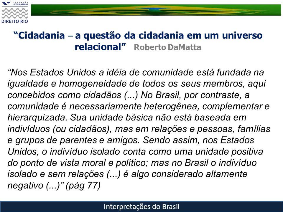 Cidadania – a questão da cidadania em um universo relacional Roberto DaMatta Interpretações do Brasil Nos Estados Unidos a idéia de comunidade está fu