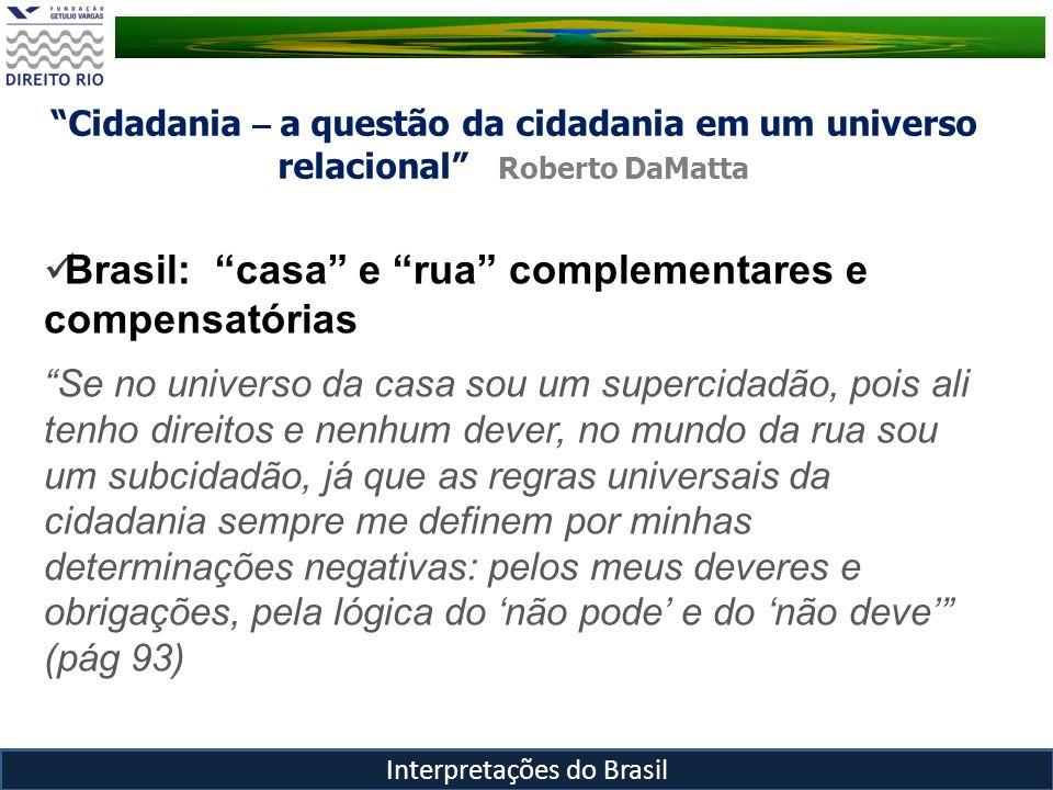 Cidadania – a questão da cidadania em um universo relacional Roberto DaMatta Interpretações do Brasil Brasil: casa e rua complementares e compensatóri
