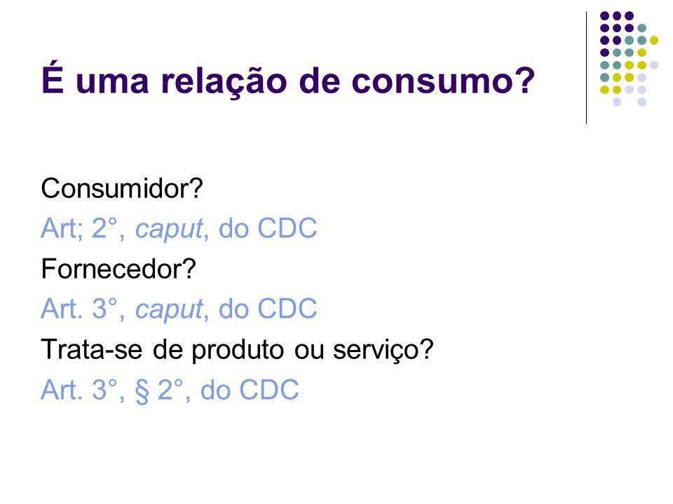 É uma relação de consumo? Consumidor? Art; 2°, caput, do CDC Fornecedor? Art. 3°, caput, do CDC Trata-se de produto ou serviço? Art. 3°, § 2°, do CDC
