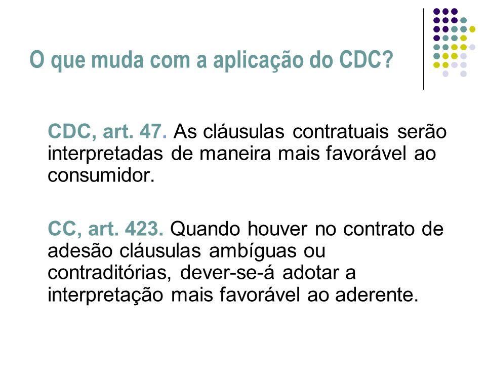 O que muda com a aplicação do CDC? CDC, art. 47. As cláusulas contratuais serão interpretadas de maneira mais favorável ao consumidor. CC, art. 423. Q