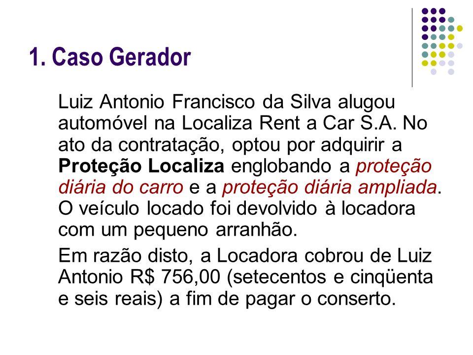 1. Caso Gerador Luiz Antonio Francisco da Silva alugou automóvel na Localiza Rent a Car S.A. No ato da contratação, optou por adquirir a Proteção Loca