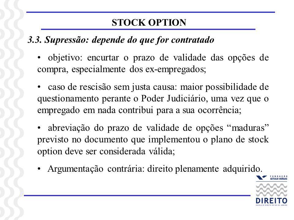 STOCK OPTION 3.3. Supressão: depende do que for contratado objetivo: encurtar o prazo de validade das opções de compra, especialmente dos ex-empregado