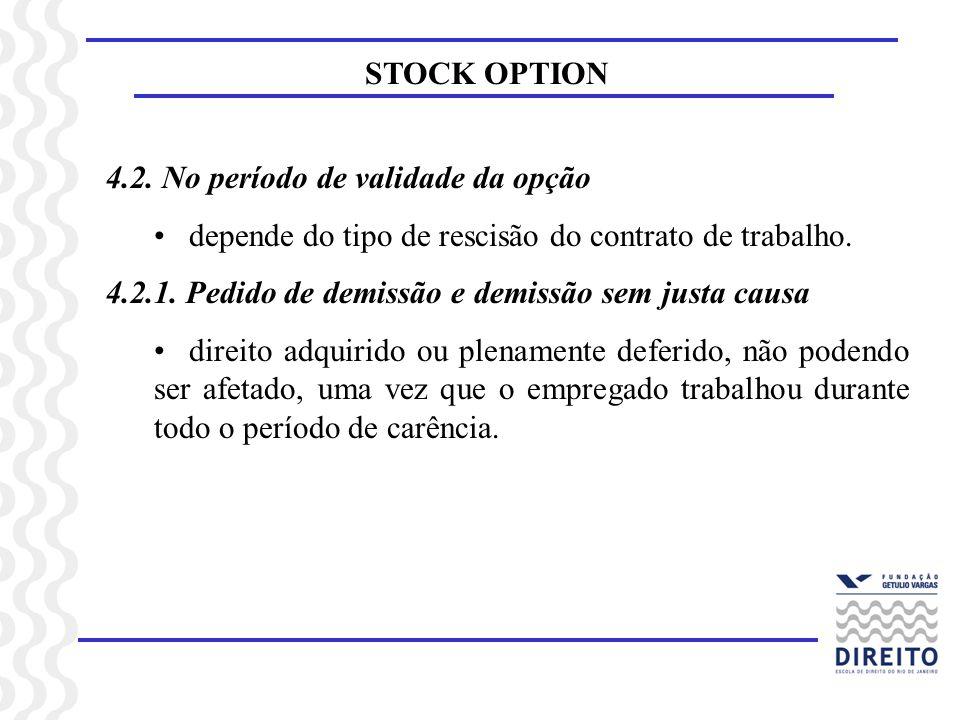 STOCK OPTION 4.2. No período de validade da opção depende do tipo de rescisão do contrato de trabalho. 4.2.1. Pedido de demissão e demissão sem justa