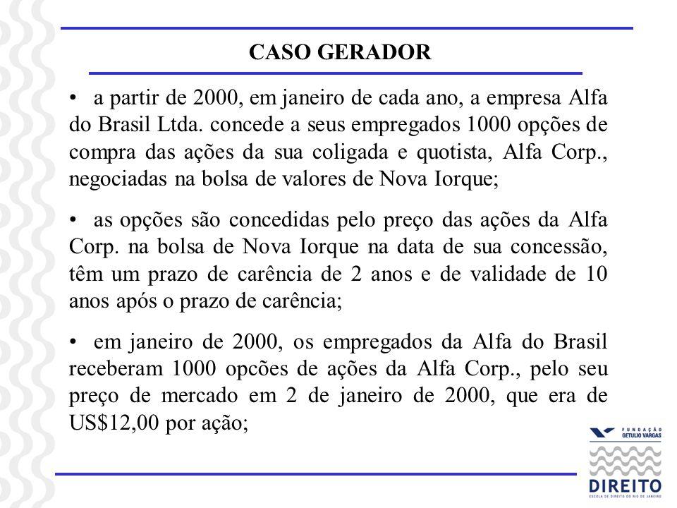 CASO GERADOR a partir de 2000, em janeiro de cada ano, a empresa Alfa do Brasil Ltda. concede a seus empregados 1000 opções de compra das ações da sua