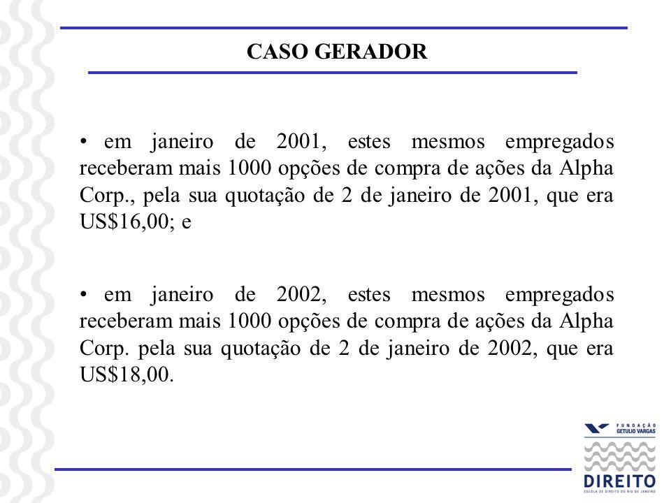 CASO GERADOR em janeiro de 2001, estes mesmos empregados receberam mais 1000 opções de compra de ações da Alpha Corp., pela sua quotação de 2 de janei
