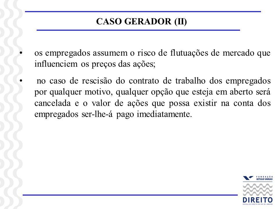 CASO GERADOR (II) os empregados assumem o risco de flutuações de mercado que influenciem os preços das ações; no caso de rescisão do contrato de traba