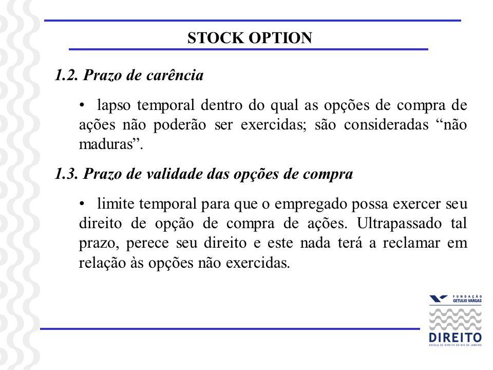 STOCK OPTION 1.2. Prazo de carência lapso temporal dentro do qual as opções de compra de ações não poderão ser exercidas; são consideradas não maduras