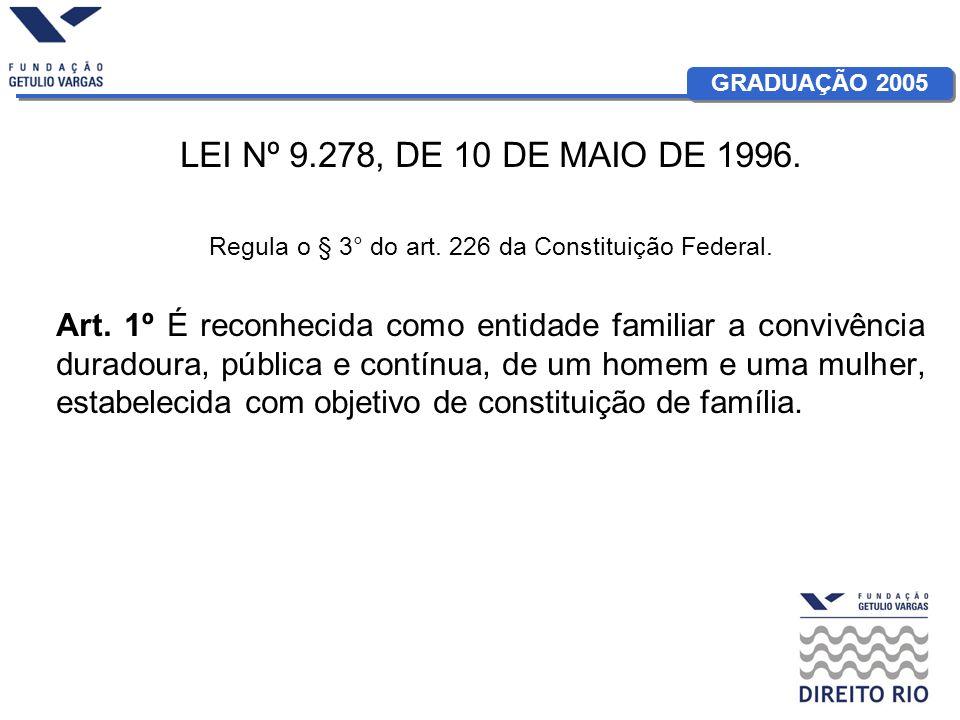 GRADUAÇÃO 2005 LEI Nº 9.278, DE 10 DE MAIO DE 1996. Regula o § 3° do art. 226 da Constituição Federal. Art. 1º É reconhecida como entidade familiar a