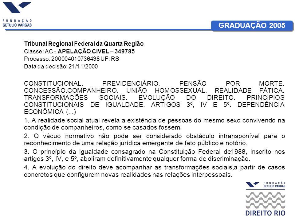 GRADUAÇÃO 2005 Tribunal Regional Federal da Quarta Região Classe: AC - APELAÇÃO CIVEL – 349785 Processo: 200004010736438 UF: RS Data da decisão: 21/11