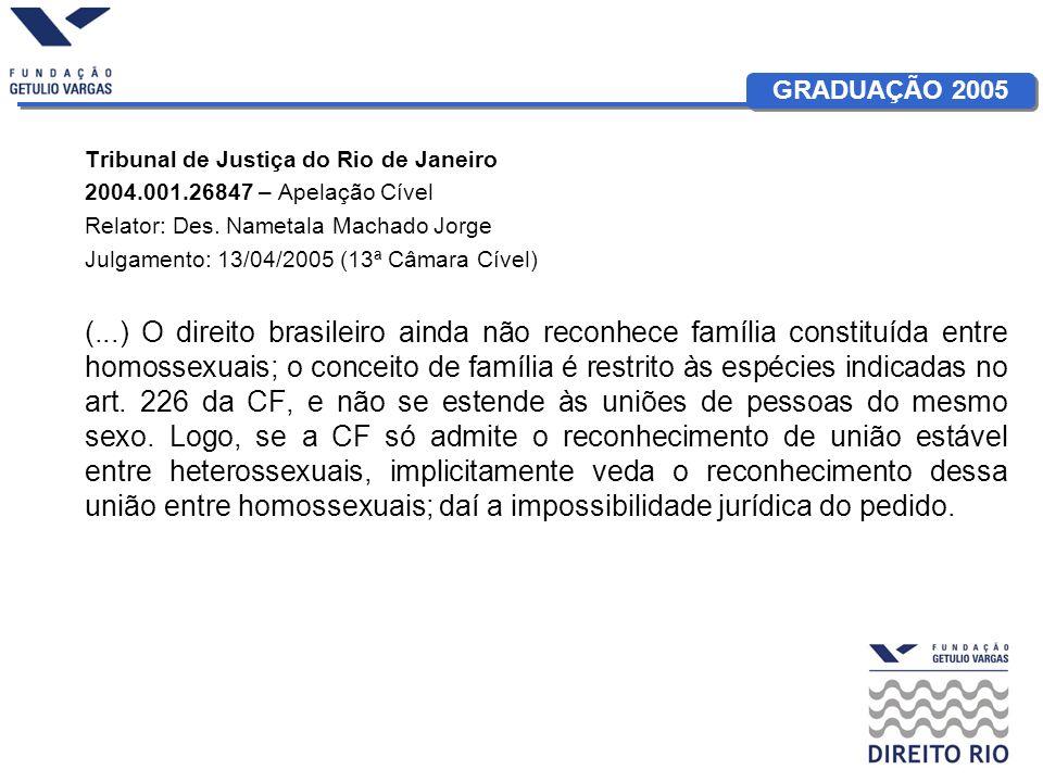 GRADUAÇÃO 2005 Tribunal de Justiça do Rio de Janeiro 2004.001.26847 – Apelação Cível Relator: Des. Nametala Machado Jorge Julgamento: 13/04/2005 (13ª