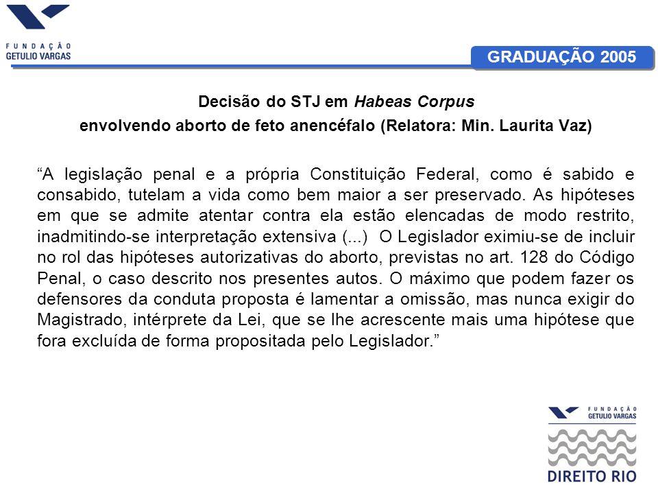 GRADUAÇÃO 2005 Decisão do STJ em Habeas Corpus envolvendo aborto de feto anencéfalo (Relatora: Min. Laurita Vaz) A legislação penal e a própria Consti