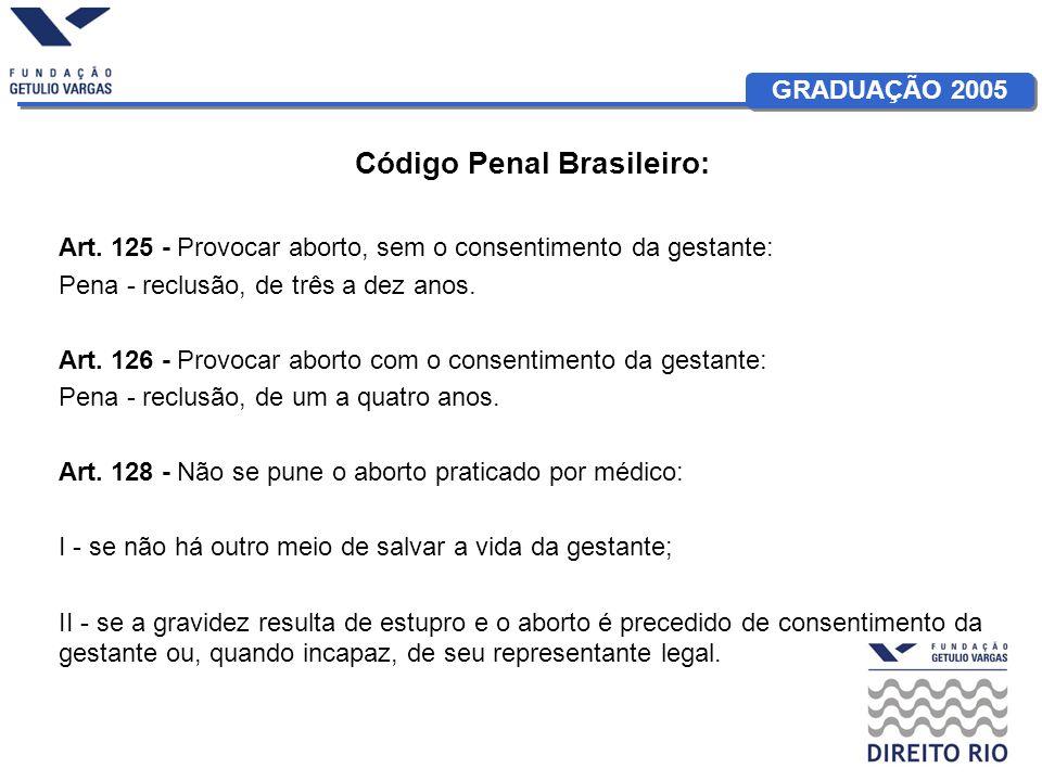 GRADUAÇÃO 2005 Código Penal Brasileiro: Art. 125 - Provocar aborto, sem o consentimento da gestante: Pena - reclusão, de três a dez anos. Art. 126 - P