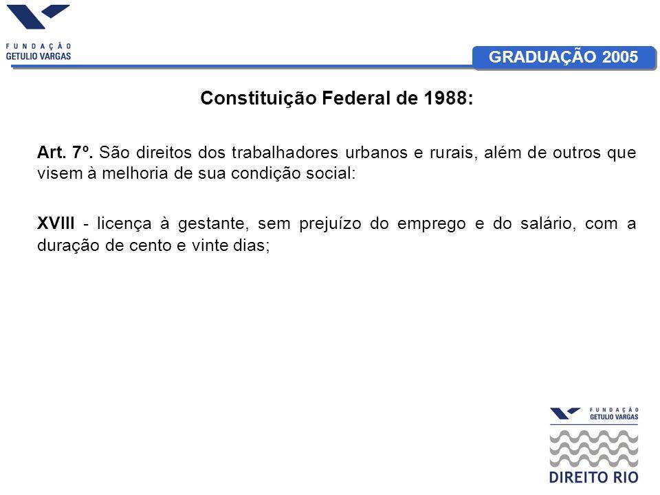 GRADUAÇÃO 2005 Constituição Federal de 1988: Art. 7º. São direitos dos trabalhadores urbanos e rurais, além de outros que visem à melhoria de sua cond