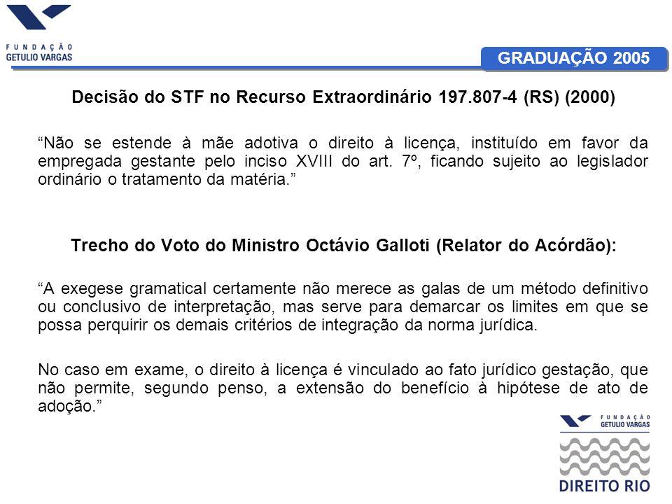 GRADUAÇÃO 2005 Decisão do STF no Recurso Extraordinário 197.807-4 (RS) (2000) Não se estende à mãe adotiva o direito à licença, instituído em favor da