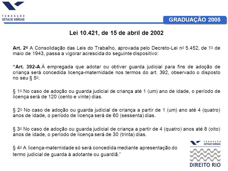 GRADUAÇÃO 2005 Lei 10.421, de 15 de abril de 2002 Art. 2 o A Consolidação das Leis do Trabalho, aprovada pelo Decreto-Lei n o 5.452, de 1 o de maio de
