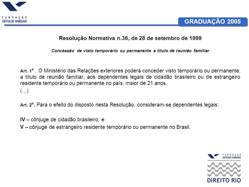 GRADUAÇÃO 2005 Resolução Normativa n.36, de 28 de setembro de 1999 Concessão de visto temporário ou permanente a título de reunião familiar Art. 1 °.