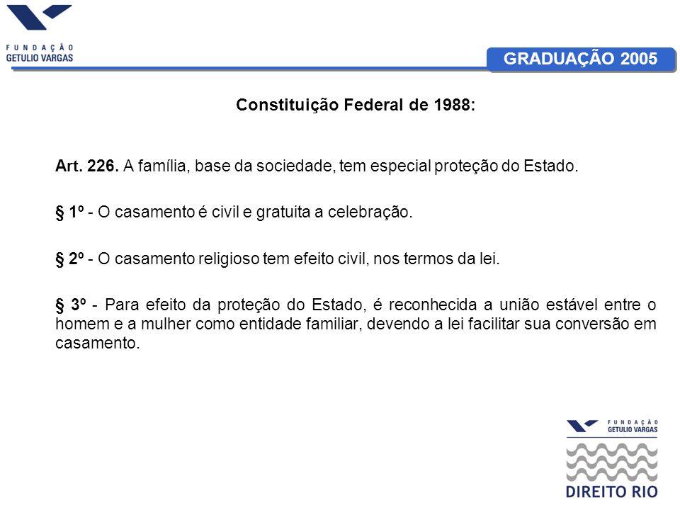 GRADUAÇÃO 2005 Constituição Federal de 1988: Art. 226. A família, base da sociedade, tem especial proteção do Estado. § 1º - O casamento é civil e gra
