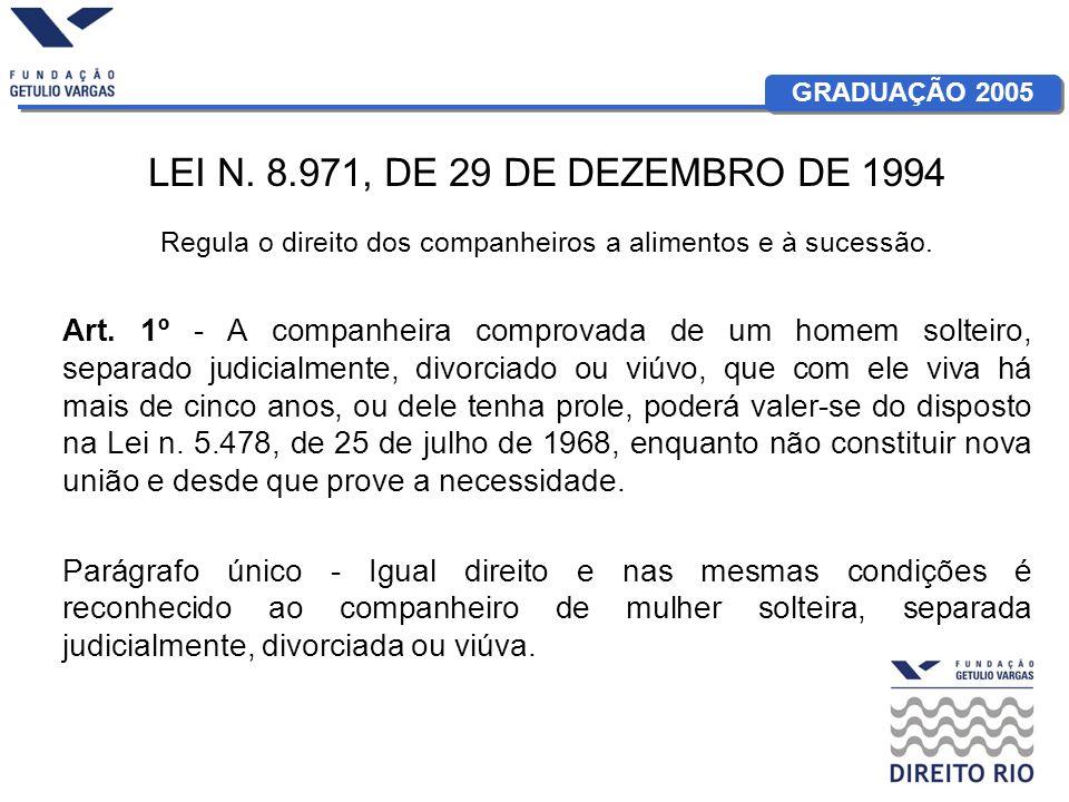 GRADUAÇÃO 2005 LEI N. 8.971, DE 29 DE DEZEMBRO DE 1994 Regula o direito dos companheiros a alimentos e à sucessão. Art. 1º - A companheira comprovada