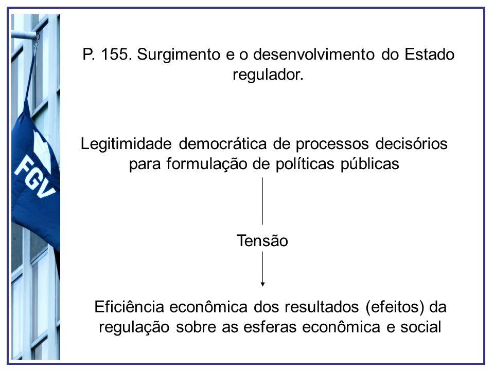 P. 155. Surgimento e o desenvolvimento do Estado regulador. Legitimidade democrática de processos decisórios para formulação de políticas públicas Ten