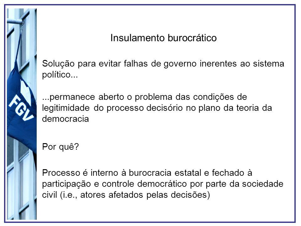 Insulamento burocrático Solução para evitar falhas de governo inerentes ao sistema político......permanece aberto o problema das condições de legitimi
