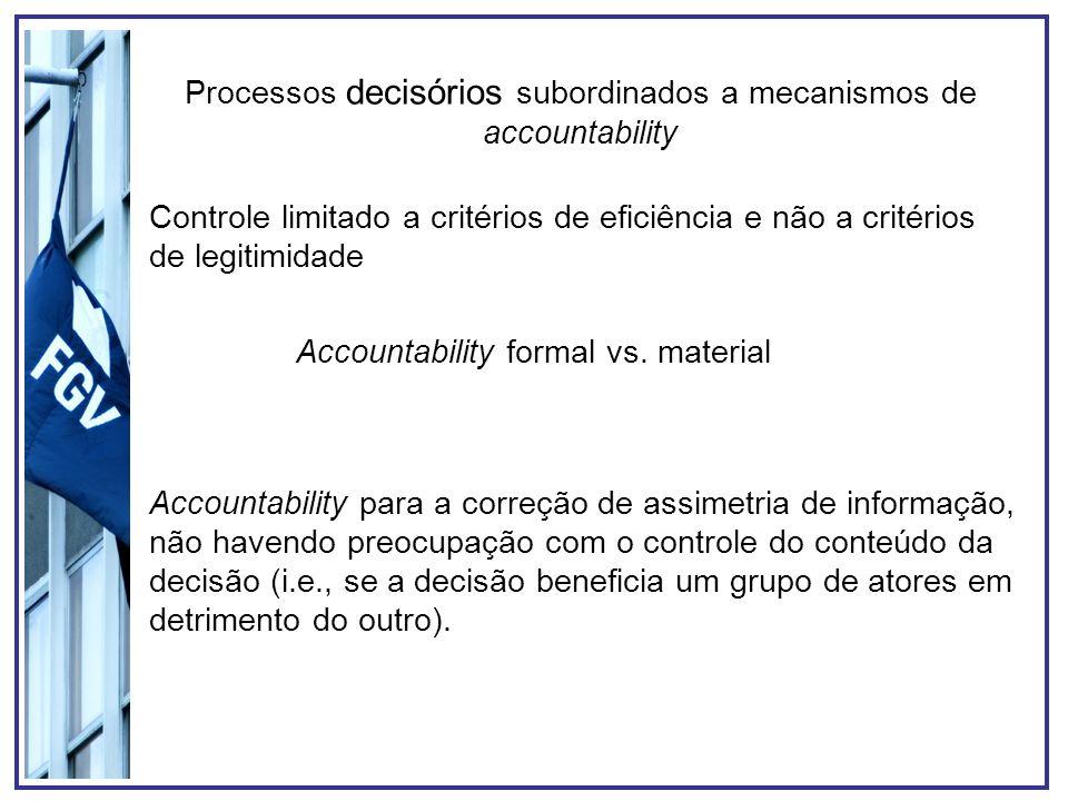 Processos decisórios subordinados a mecanismos de accountability Controle limitado a critérios de eficiência e não a critérios de legitimidade Account