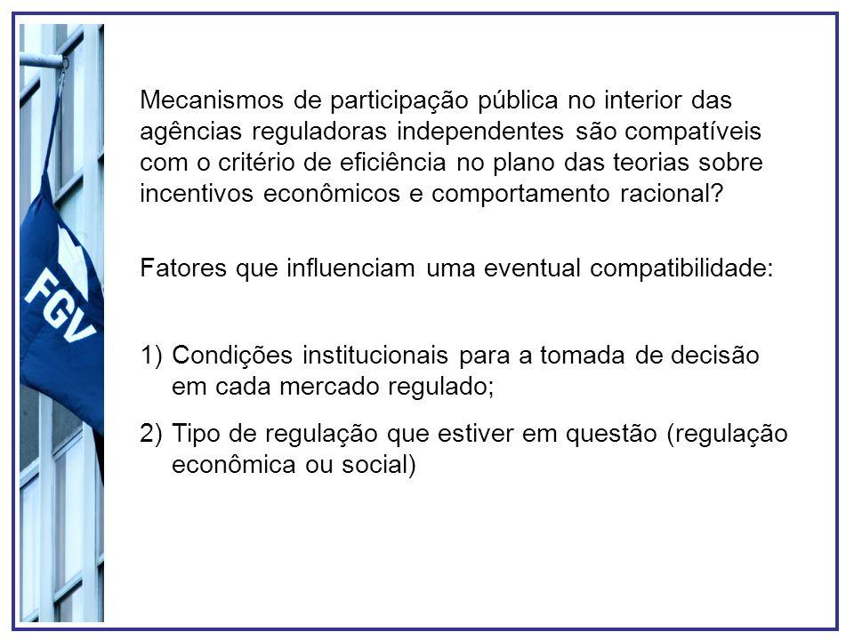 Mecanismos de participação pública no interior das agências reguladoras independentes são compatíveis com o critério de eficiência no plano das teoria