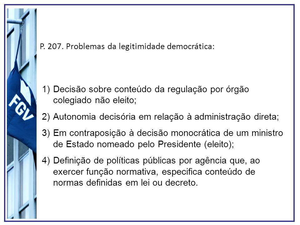 P. 207. Problemas da legitimidade democrática: 1)Decisão sobre conteúdo da regulação por órgão colegiado não eleito; 2)Autonomia decisória em relação