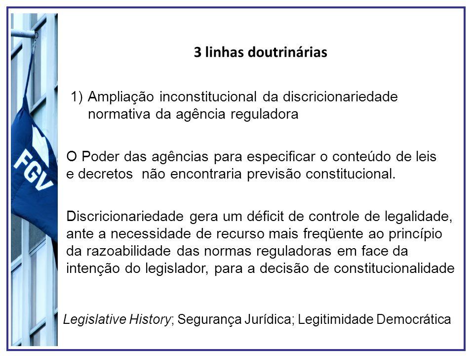 3 linhas doutrinárias 1)Ampliação inconstitucional da discricionariedade normativa da agência reguladora O Poder das agências para especificar o conte