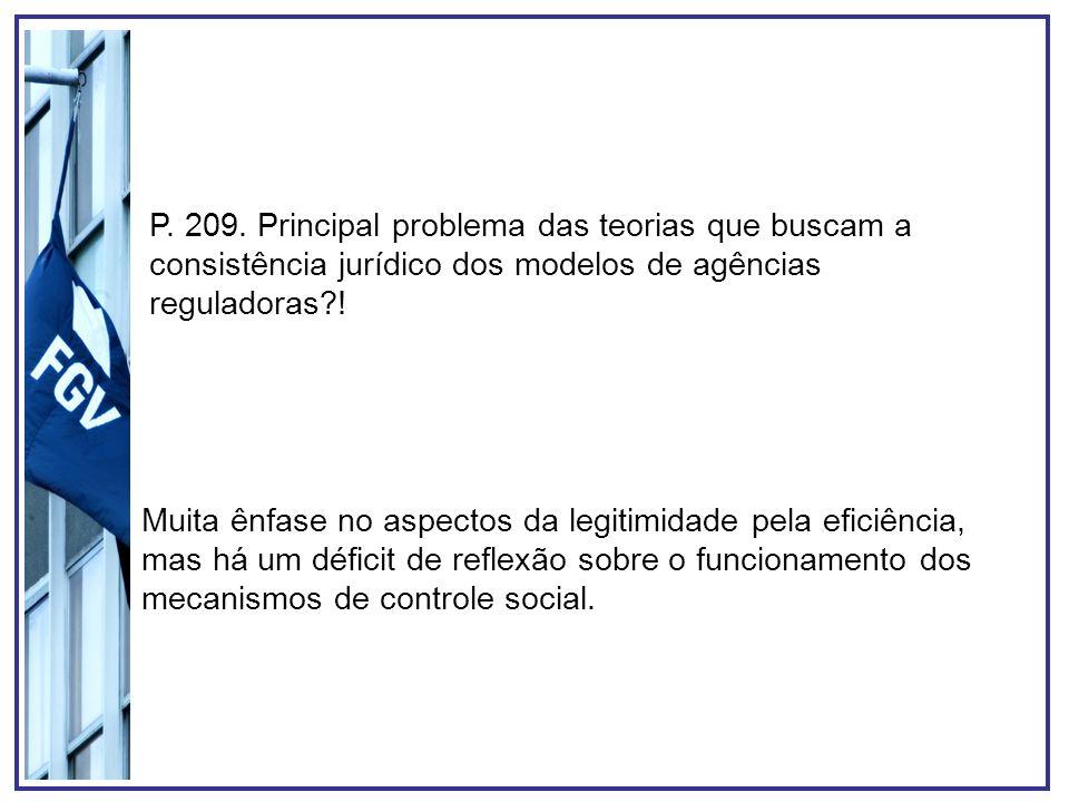 P. 209. Principal problema das teorias que buscam a consistência jurídico dos modelos de agências reguladoras?! Muita ênfase no aspectos da legitimida