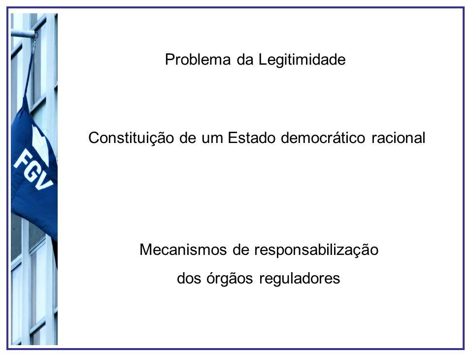 Problema da Legitimidade Constituição de um Estado democrático racional Mecanismos de responsabilização dos órgãos reguladores