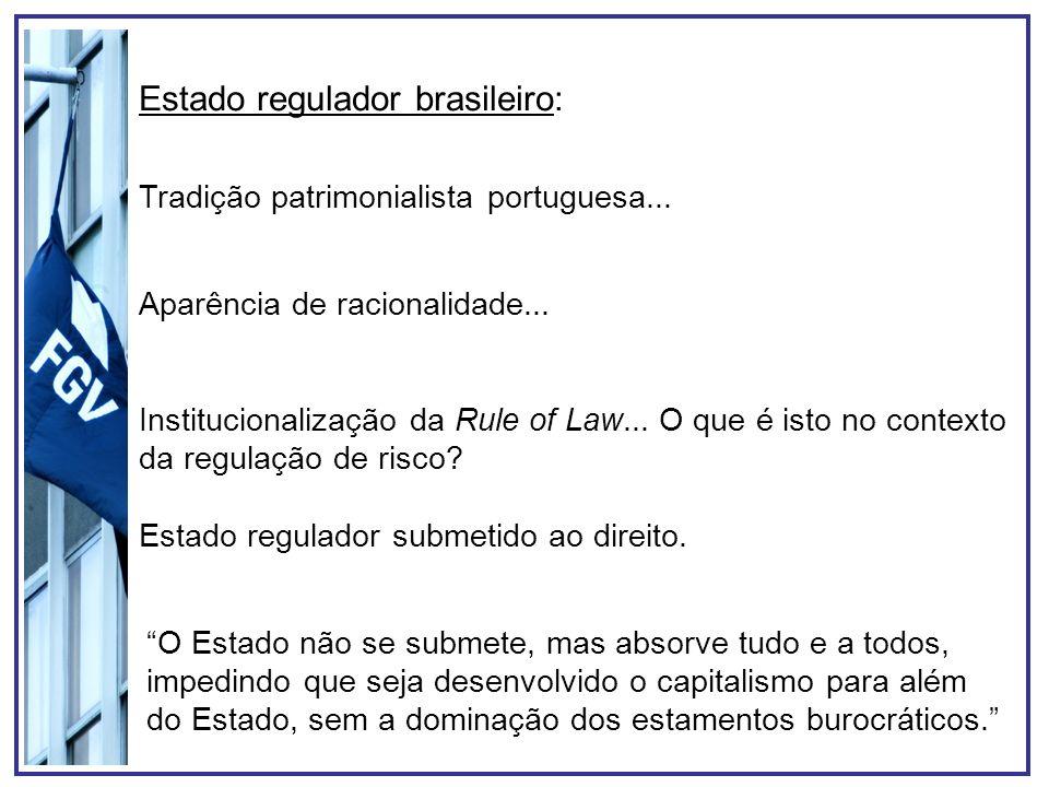 Tradição patrimonialista portuguesa... Aparência de racionalidade... Institucionalização da Rule of Law... O que é isto no contexto da regulação de ri