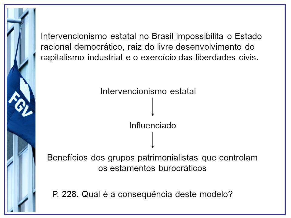 Intervencionismo estatal no Brasil impossibilita o Estado racional democrático, raiz do livre desenvolvimento do capitalismo industrial e o exercício