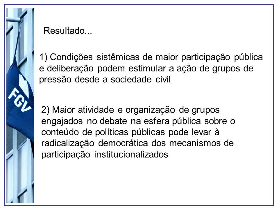 1) Condições sistêmicas de maior participação pública e deliberação podem estimular a ação de grupos de pressão desde a sociedade civil 2) Maior ativi
