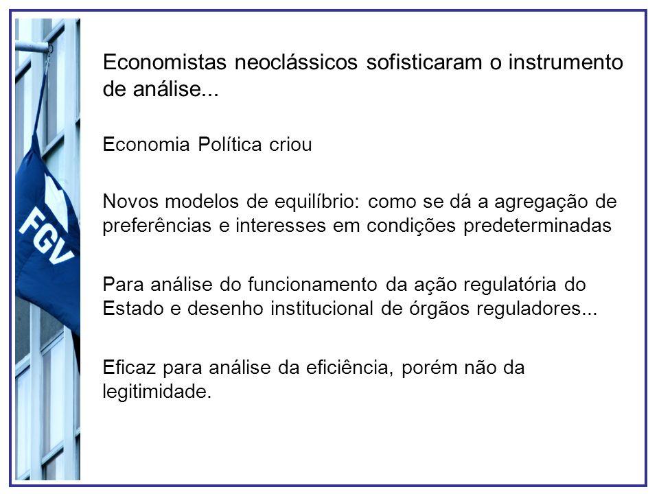Economistas neoclássicos sofisticaram o instrumento de análise... Novos modelos de equilíbrio: como se dá a agregação de preferências e interesses em