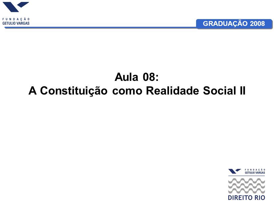 GRADUAÇÃO 2008 Aula 08: A Constituição como Realidade Social II