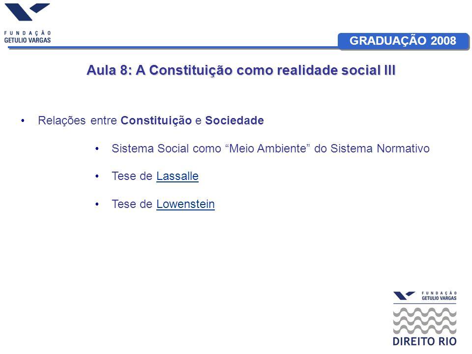 GRADUAÇÃO 2008 Aula 8: A Constituição como realidade social III Relações entre Constituição e Sociedade Sistema Social como Meio Ambiente do Sistema Normativo Tese de LassalleLassalle Tese de LowensteinLowenstein