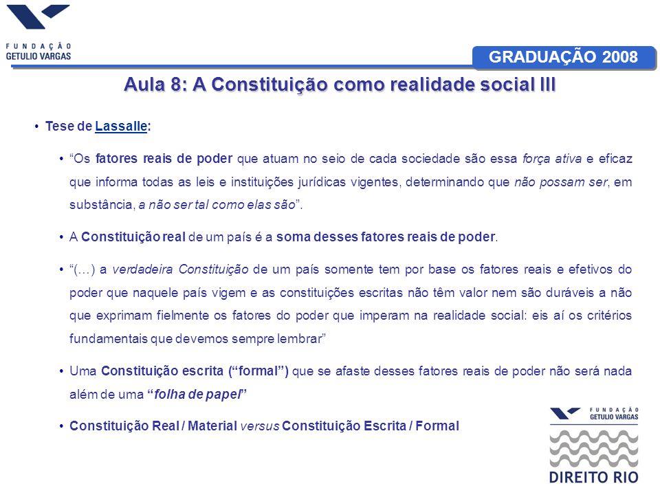 GRADUAÇÃO 2008 Aula 8: A Constituição como realidade social III Tese de Lowenstein:Lowenstein Análise ontológica das Constituições: critério utilizado é o da concordância das normas constitucionais com a realidade do processo do poder (…) Uma Constituição escrita não funciona por si mesma uma vez que foi adotada pelo povo.