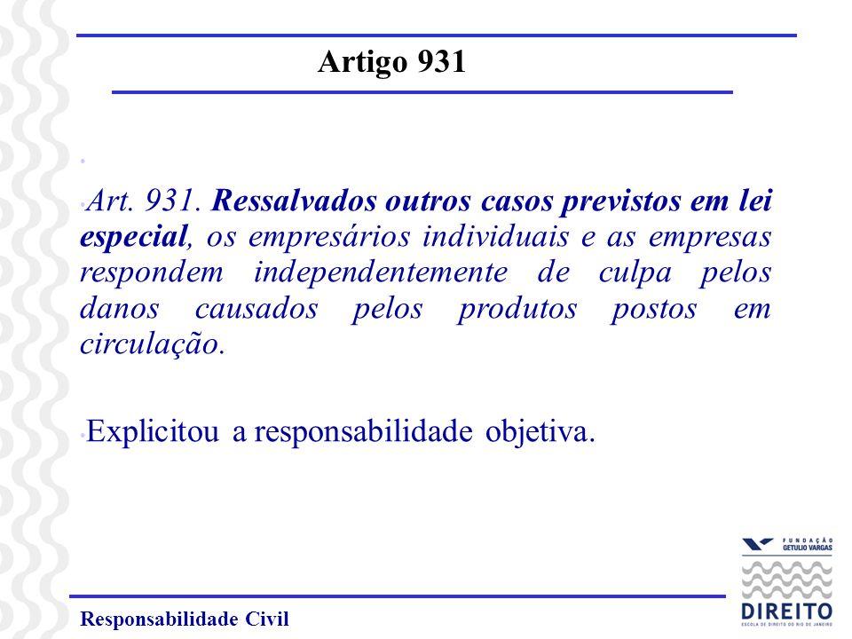 Responsabilidade Civil Artigo 931 Enunciado 42 – Art.