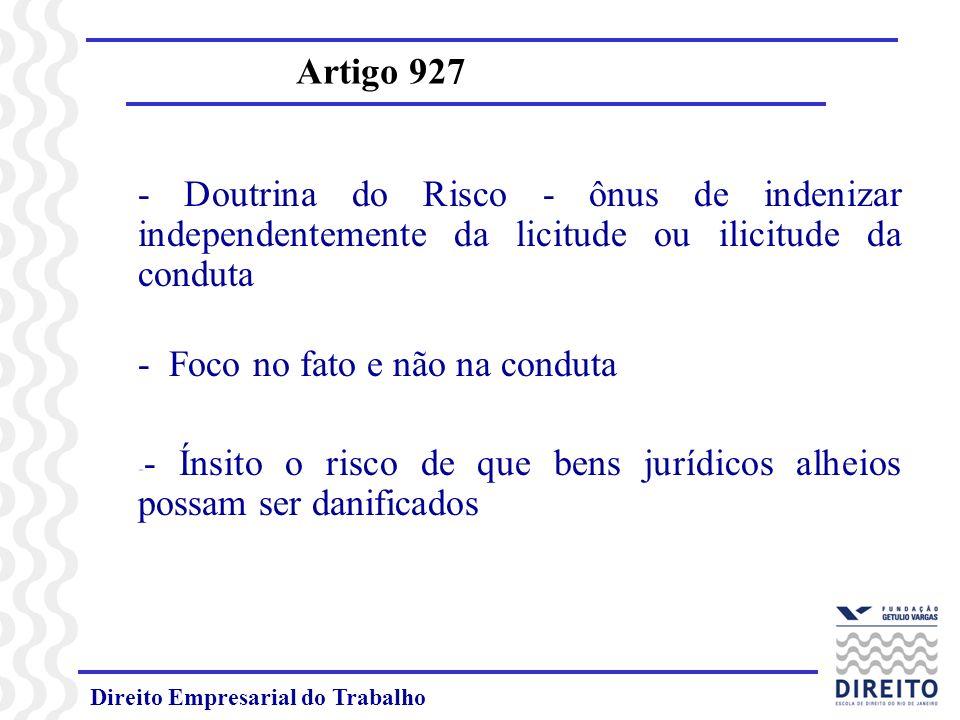 Responsabilidade Civil Artigo 927 Responsabilidade decorrente de Risco Risco da Atividade Perigosa Atividade que gera riscos às pessoas que estão a ela expostas – riscos superiores aos comumente aceitos.