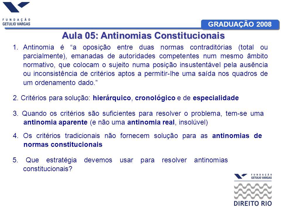 Aula 05: Antinomias Constitucionais 1.Antinomia é a oposição entre duas normas contraditórias (total ou parcialmente), emanadas de autoridades compete