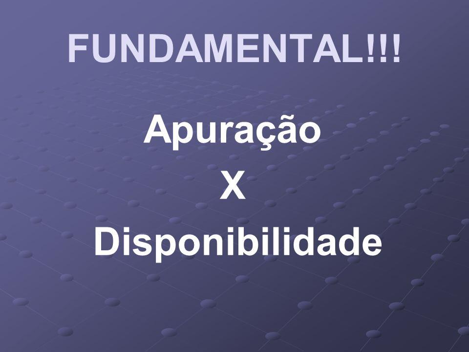 FUNDAMENTAL!!! Apuração X Disponibilidade