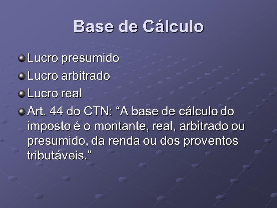 Base de Cálculo Lucro presumido Lucro arbitrado Lucro real Art. 44 do CTN: A base de cálculo do imposto é o montante, real, arbitrado ou presumido, da