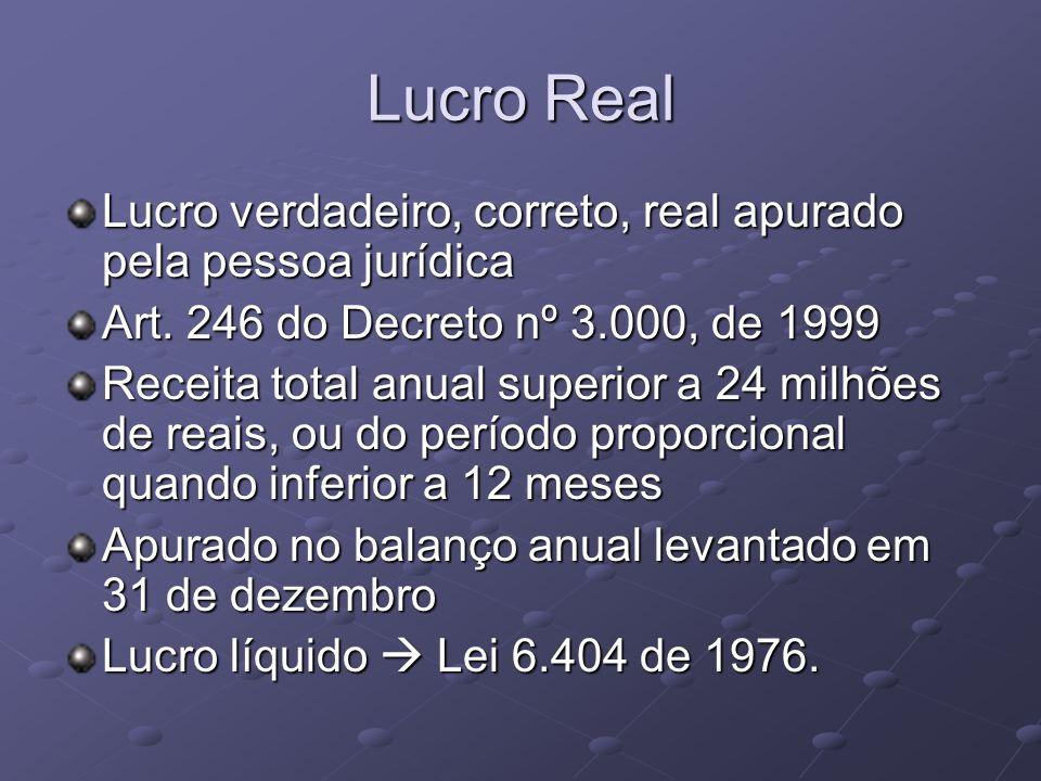 Lucro Real Lucro verdadeiro, correto, real apurado pela pessoa jurídica Art. 246 do Decreto nº 3.000, de 1999 Receita total anual superior a 24 milhõe
